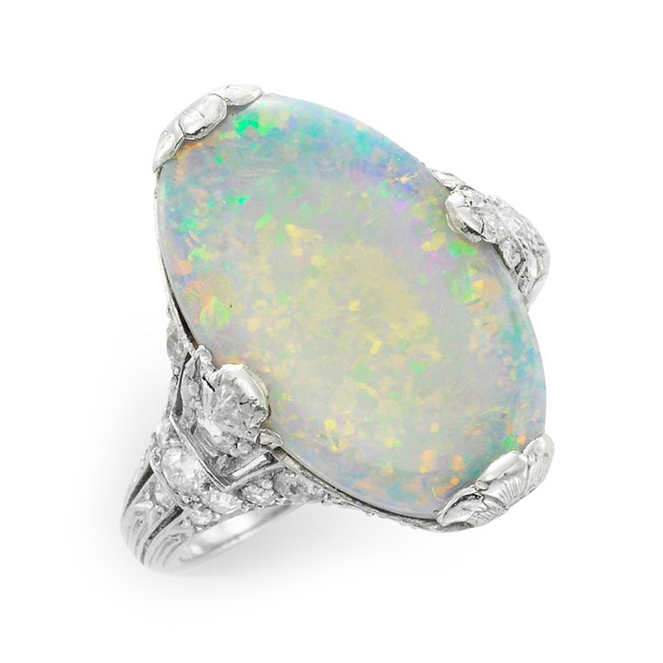 An Edwardian Opal and Diamond Ring, circa 1910