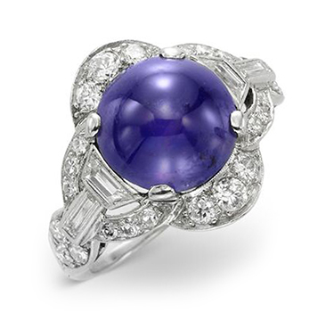 An Art Deco Color-change Purple Sapphire and Diamond Ring, circa 1925