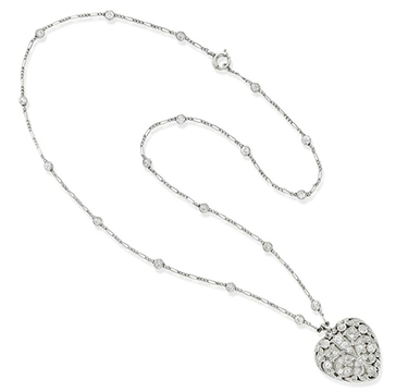 An Edwardian Diamond Heart Locket Pendant Necklace