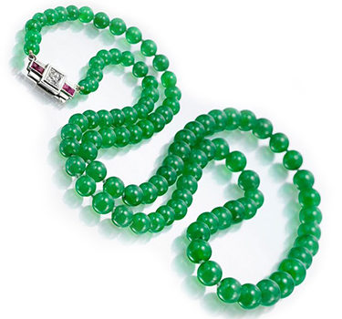 A Natural Burmese Jade Bead Single Strand Necklace
