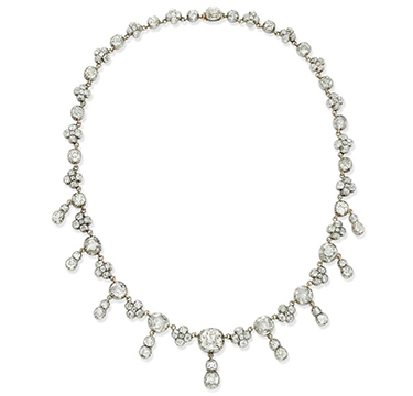 A Late 19th Century Diamond Riviere Pendant Necklace