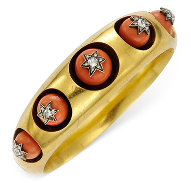 An Antique Coral, Diamond and Gold Bangle Bracelet