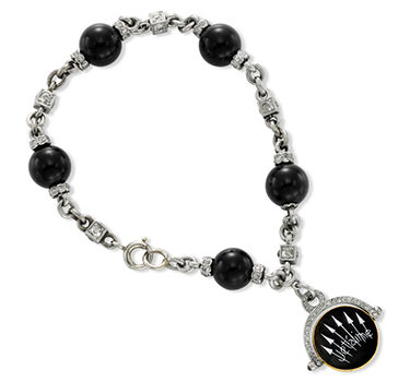 An Art Deco Onyx, Enamel And Diamond 'Jetaime' Charm Bracelet, Circa 1925