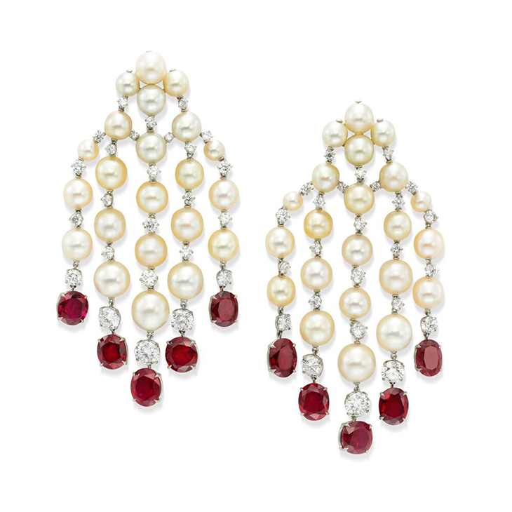 A Pair of Natural Pearl, Ruby and Diamond Ear Pendants, by SABBA