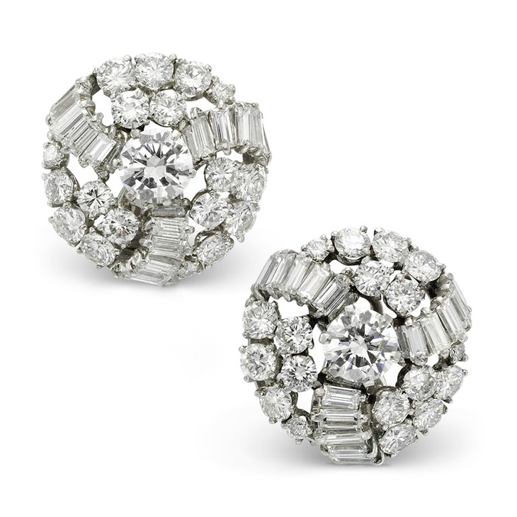 A Pair of Diamond Cluster Ear Clips, by Boucheron, circa 1955