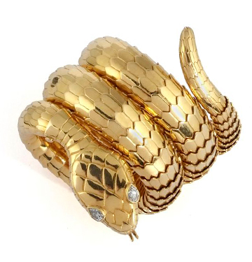 A Gold and Diamond Serpenti Bracelet, by Bulgari, circa 1960
