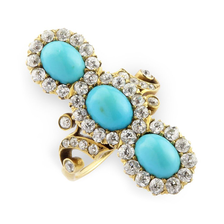 A late 19th Century Turquoise and Diamond Ring