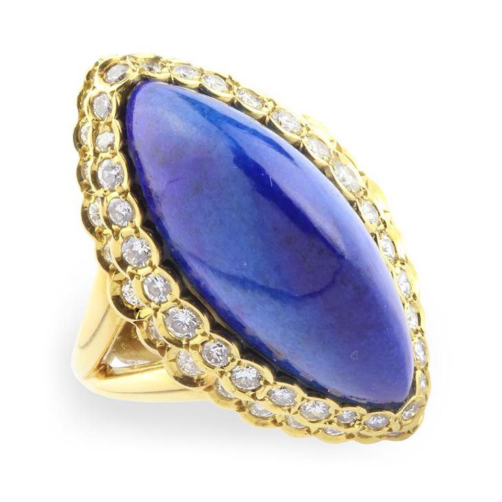 A Lapis Lazuli and Diamond Dome Ring, by Cartier, circa 1970