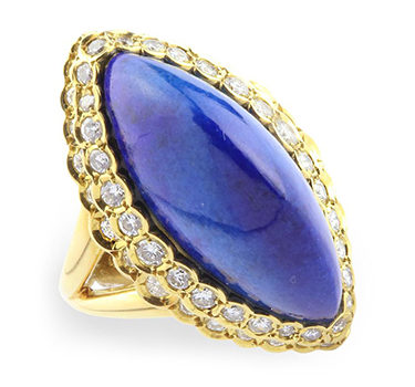 A Lapis Lazuli And Diamond Dome Ring, By Cartier, Circa 1970