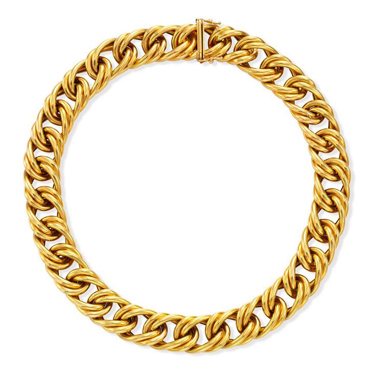 A Textured Gold Necklace, by Cartier, circa 1980