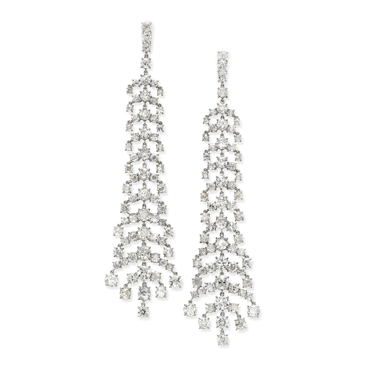 A Pair of Diamond Ear Pendants, of 38.00 carats, by SABBA
