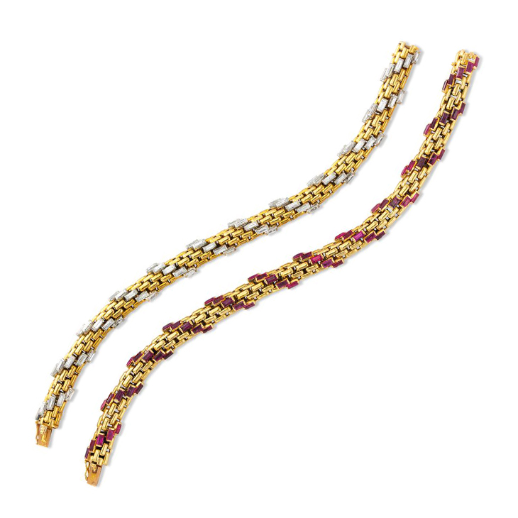 A Pair of Baguette-cut Diamond and Ruby Bracelets, circa 1960