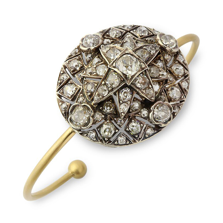 A Old European-cut Diamond Cluster Cuff Bracelet