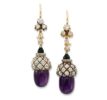 An Antique Pair Of Amethyst And Diamond 'Acorn' Ear Pendants, Circa 1900