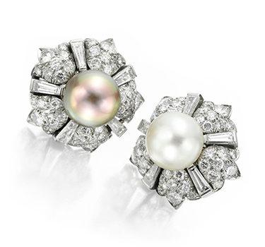A Pair Of Natural Pearl And Diamond Ear Clips, Circa 1950