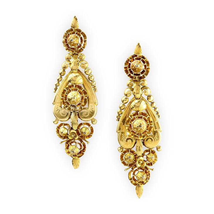 A Pair of Georgian Diamond and Gold Ear Pendants