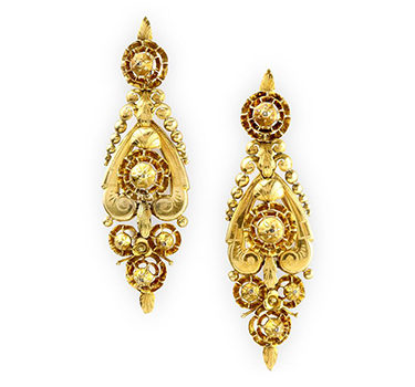 A Pair Of Georgian Diamond And Gold Ear Pendants