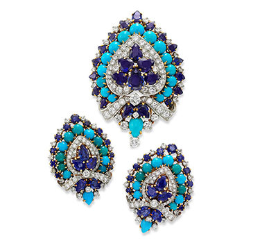 A Pair Of Sapphire, Turquoise And Diamond Ear Clips