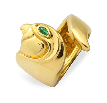 An Emerald and Gold Ring, by Cartier, circa 1990