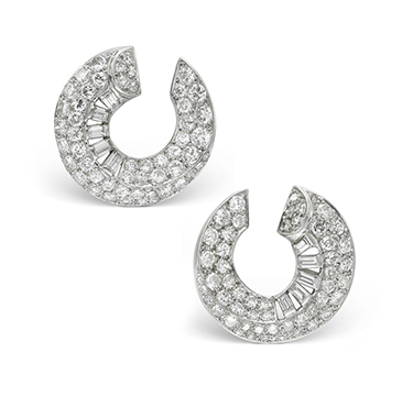 A Pair of Art Deco Diamond Creole Ear Clips, by Cartier, circa 1930