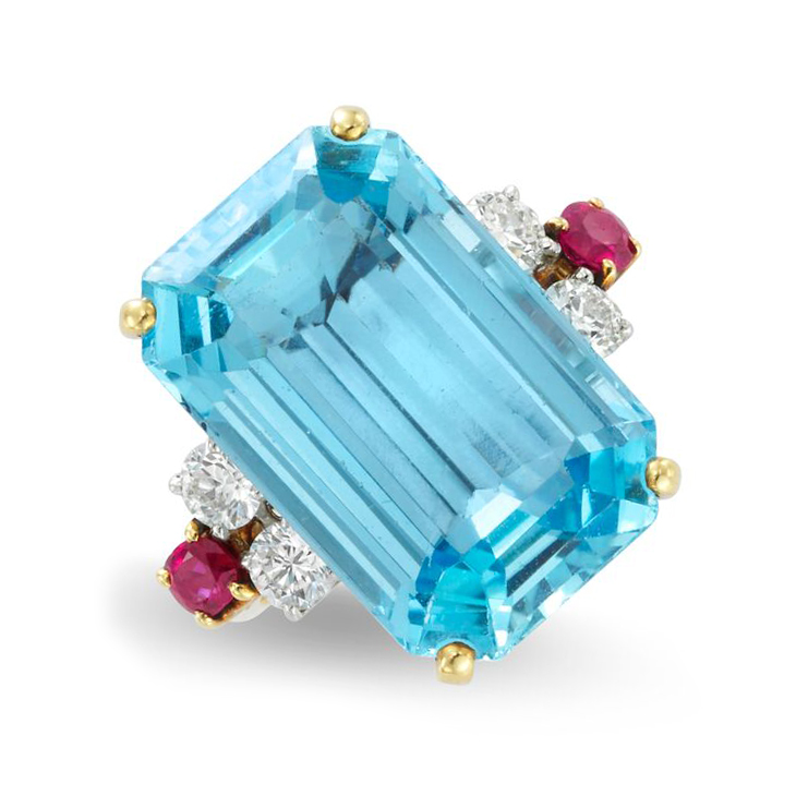A Retro Aquamarine, Ruby and Diamond Ring, by Cartier, circa 1940