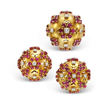 A Pair of Retro Ruby and Diamond Ear Clips, with ring en suite, by Van Cleef & Arpels, circa 1945