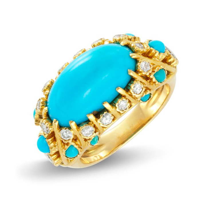 A Turquoise and Diamond Ring, by Cartier, circa 1960