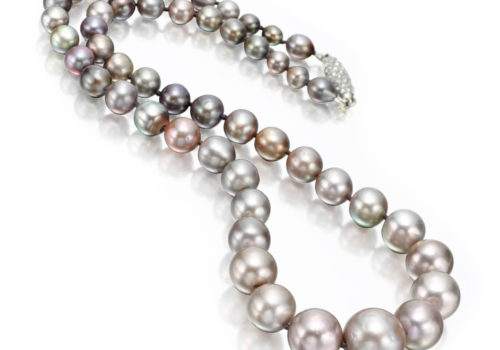 A Single Strand Natural Grey Pearl Strand Necklace