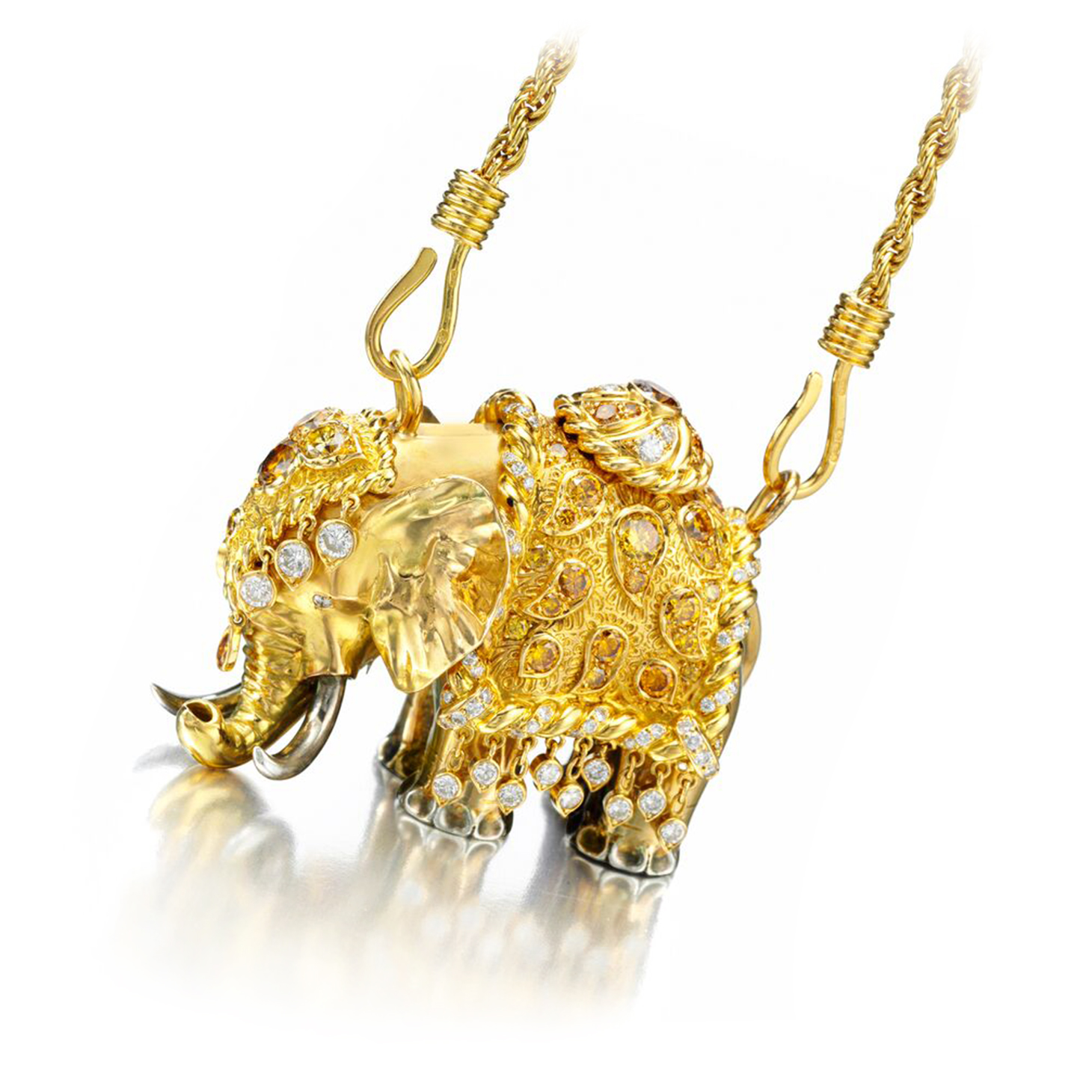 A Colored Diamond and Gold 'Elephant' Necklace, by Rene Boivin, circa 1960