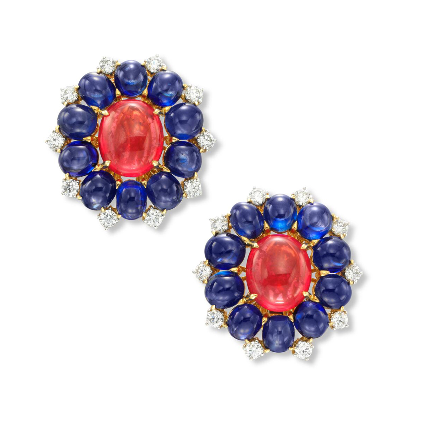 A Pair of Spinel, Sapphire and Diamond Ear Clips, by Bulgari, circa 1960