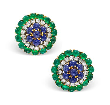 A Pair of Emerald, Sapphire and Diamond Ear Clips, by Bulgari, circa 1960