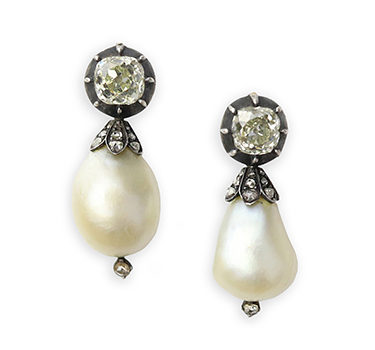 An Antique Pair Of Natural Pearl And Diamond Ear Pendants