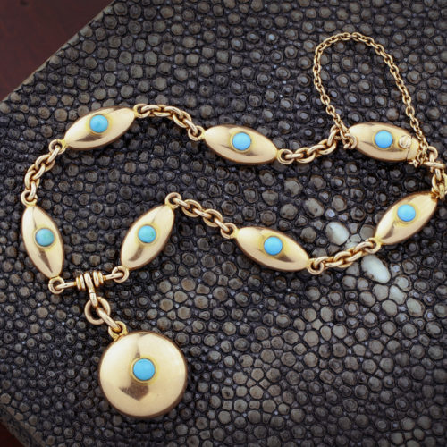 Antique Turquoise and Gold Link Bracelet