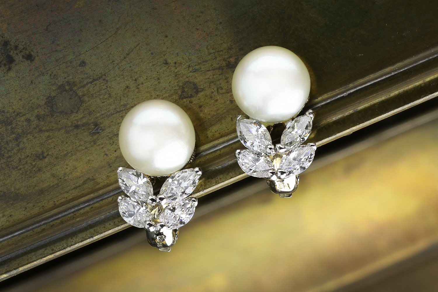 dddee92e217c5 Cartier Natural Pearl and Diamond Ear Clips