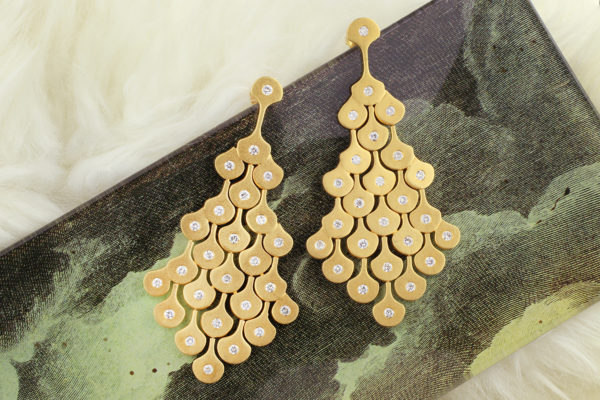 Diamond And Gold Ear Pendants