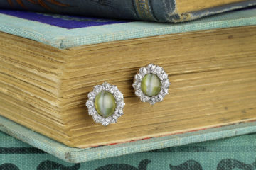 Cat's Eye Chrysoberyl And Diamond Earrings