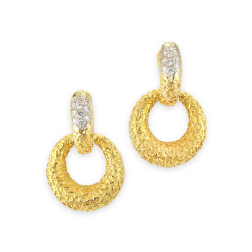 Van Cleef & Arpels Diamond and Textured Gold Ear Pendants