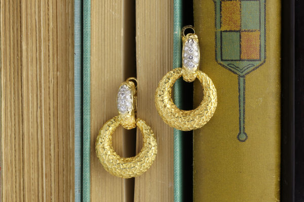 Van Cleef & Arpels Diamond And Textured Gold Ear Pendants