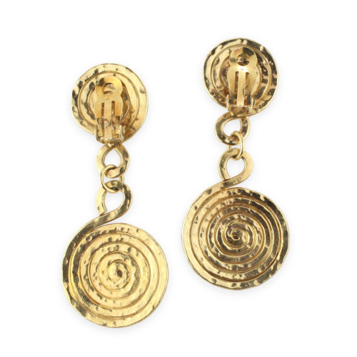 Hammered Gold Pendant Earrings