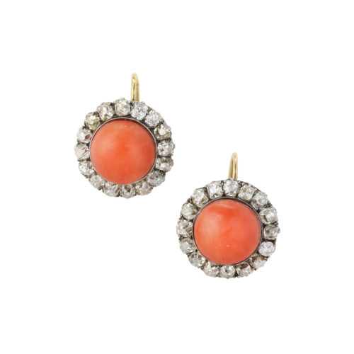 Antique Coral and Diamond Earrings