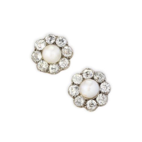 Pearl and Diamond Earrings