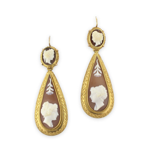 Shell Cameo Ear Pendants