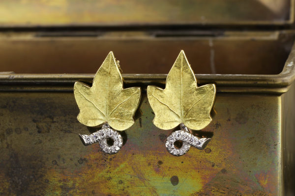 Cartier Diamond Set Gold 'Leaf' Ear Clips