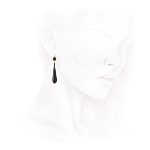Onyx and Enamel Ear Pendants