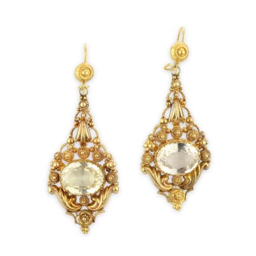 Georgian Gold and Citrine Ear Pendants