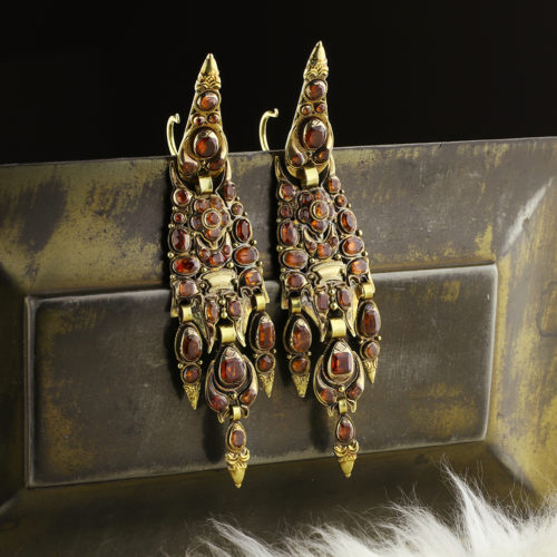 Antique Garnet Ear Pendants