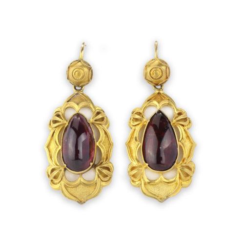 Antique Gold and Garnet Ear Pendants