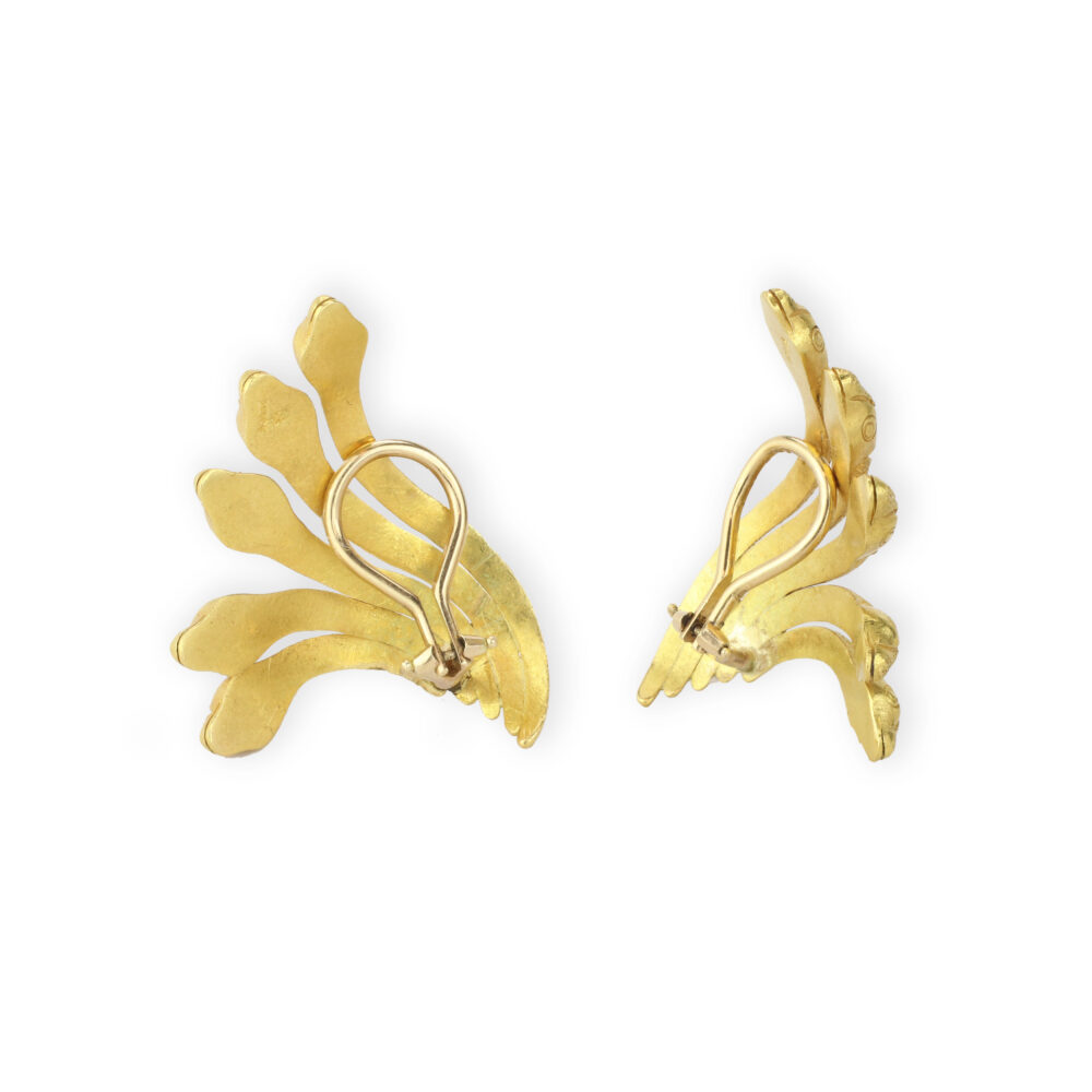 Sculpted Gold Snake Ear Clips