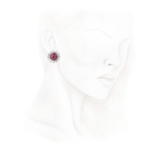 Boucheron Ruby and Diamond Ear Clips