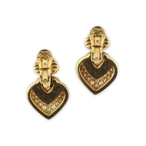 Bulgari 'Doppio Cuore' Diamond and Gold Ear Pendants